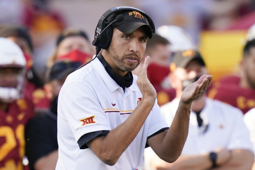 FILE - Iowa State head coach Matt Campbell reacts on the sideline during the second half of an NCAA college football game against Texas Tech in Ames, Iowa, in this Saturday, Oct. 10, 2020, file photo. The Cyclones, who at No. 8 have their highest ranking ever in The Associated Press poll, play No. 12 Oklahoma on Saturday at AT&T Stadium in Arlington, Texas. (AP Photo/Charlie Neibergall, File)