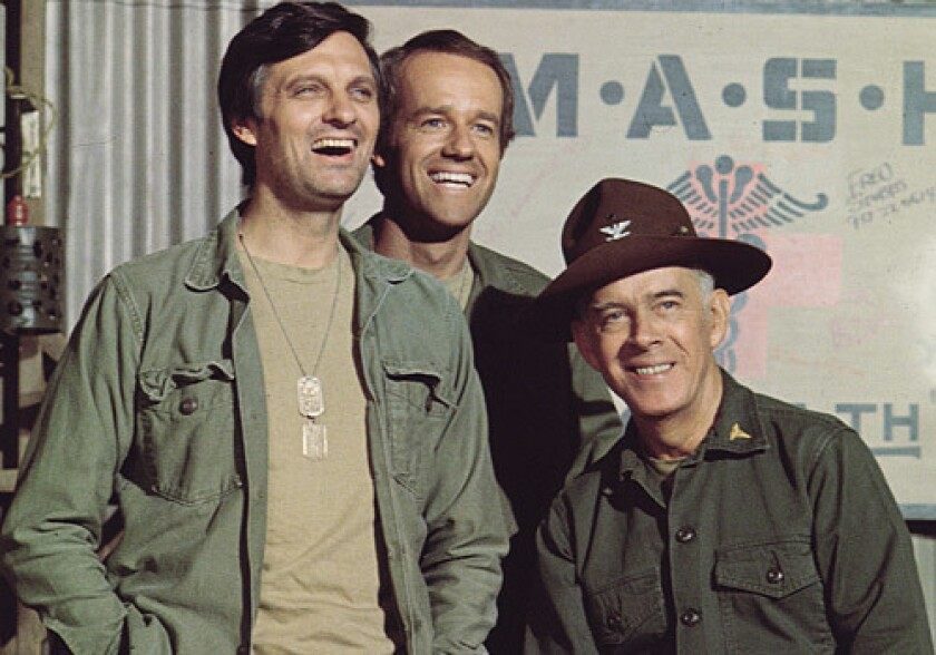"""Alan Alda with """"MASH"""" castmates Mike Farrell and Harry Morgan."""