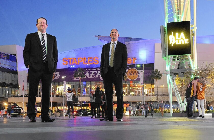 AEG executives Dan Beckerman, left, and Ted Fikre in front of Staples Center and L.A. Live in downtown Los Angeles.