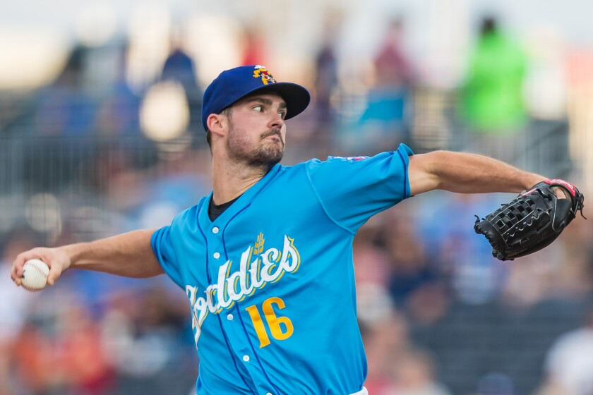 Padres pitcher Jacob Nix during rehab start with double-A Amarillo in 2019.