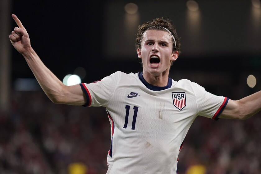 United States' Brenden Aaronson celebrates after the United States scored against Jamaica during a FIFA World Cup qualifying soccer match Thursday, Oct. 7, 2021, in Austin, Texas. (AP Photo/Eric Gay)