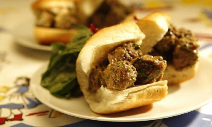 FULLY LOADED: A meatball sandwich.