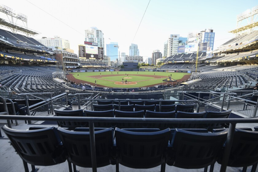The Padres played an intrasquad game with no fans in the stands on Wednesday.