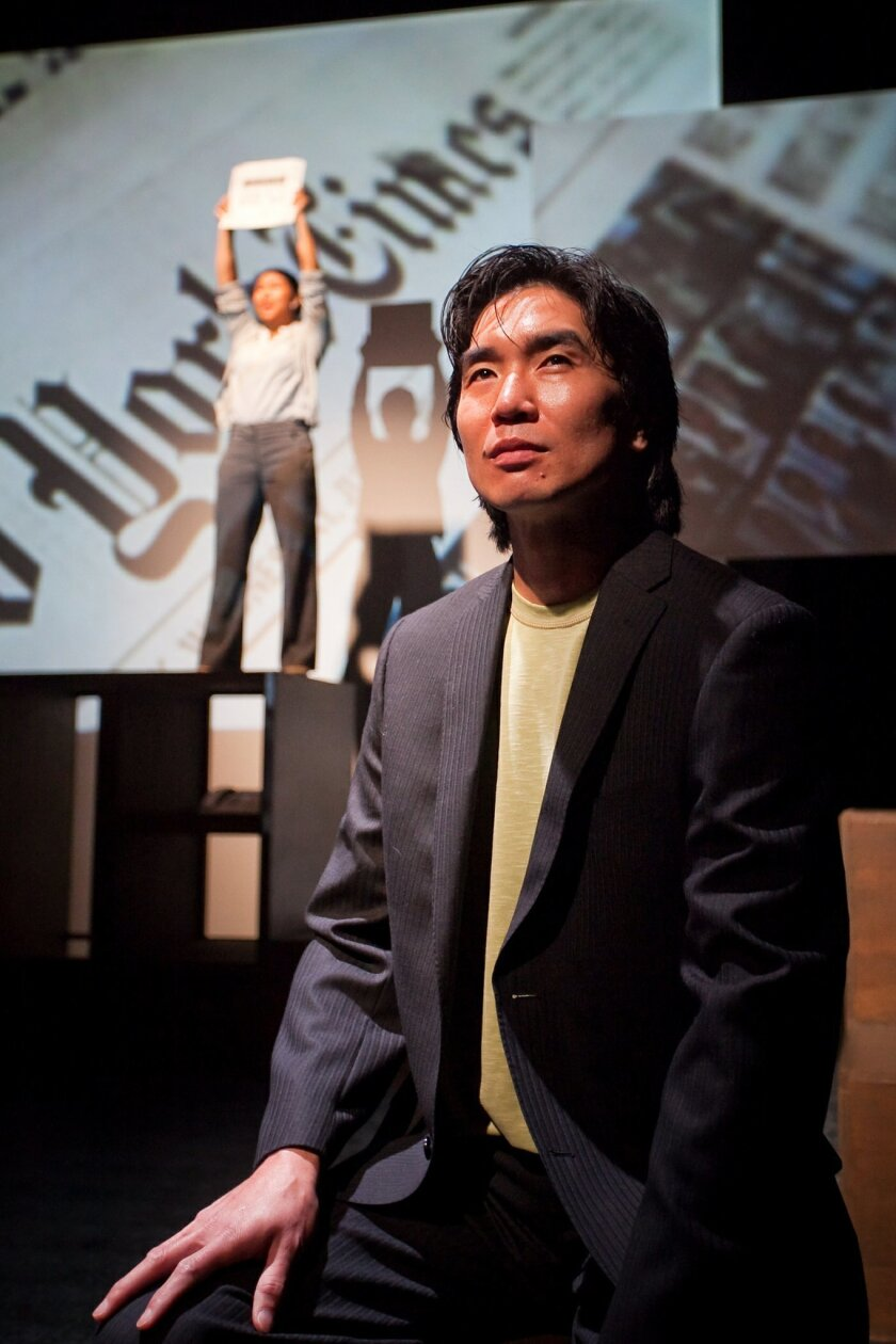"""Greg Watanabe as """"DHH"""" in """"Yellow Face."""""""