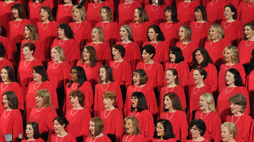 The women's side of the Tabernacle Choir at Temple Square, one-half of the 360 voices.