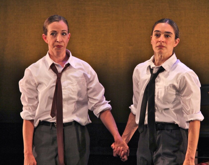 """Monica Bill Barnes and Anna Bass in 'Happy Hour,"""" a cocktail party dance show."""