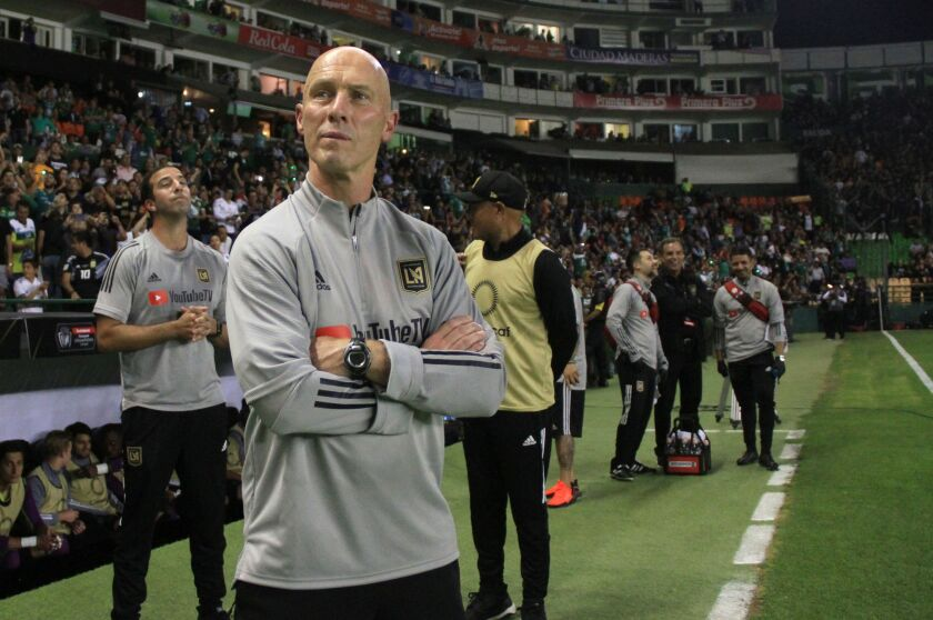 LAFC coach Bob Bradley watches the match against Mexico´s Leon during the first leg quarterfinal football match of the CONCACAF Champions League.