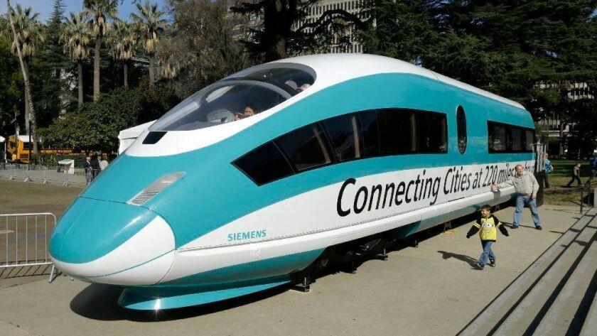 A full-scale mock-up of a California high-speed rail car in Sacramento in 2015.