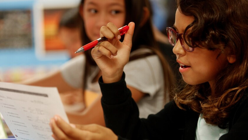 Alani Rey, 10, working in August at her fifth-grade gifted magnets program at Eagle Rock Elementary School, home to two of the top-performing L.A. Unified magnet schools on California's state tests.