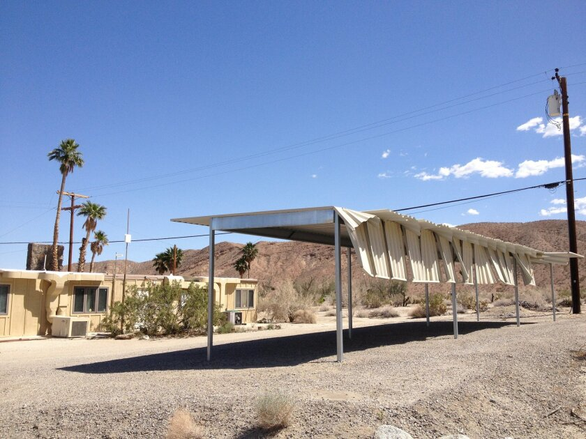 Strong winds damaged a parking structure at an Anza-Borrego Desert Park rangers station Monday.