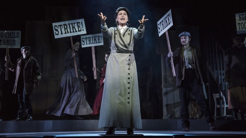 """Valerie Perri plays Emma Goldman in Pasadena Playhouse's stirring production of """"Ragtime: The Musical,"""" whose characters collectively convey the messy history of the American experience."""
