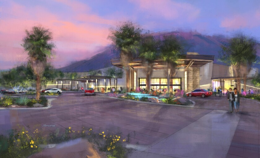 A rendering of the exterior of the Agua Caliente Casino Cathedral City.