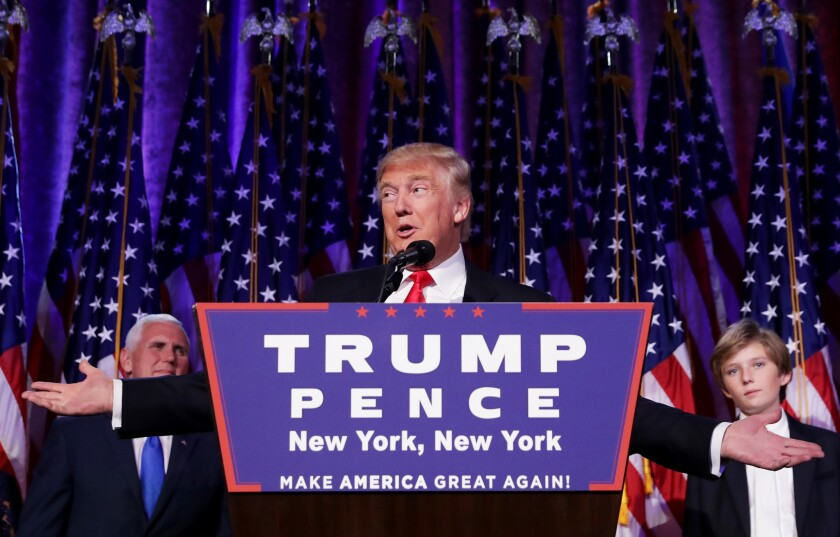 Donald Trump on election night in New York.