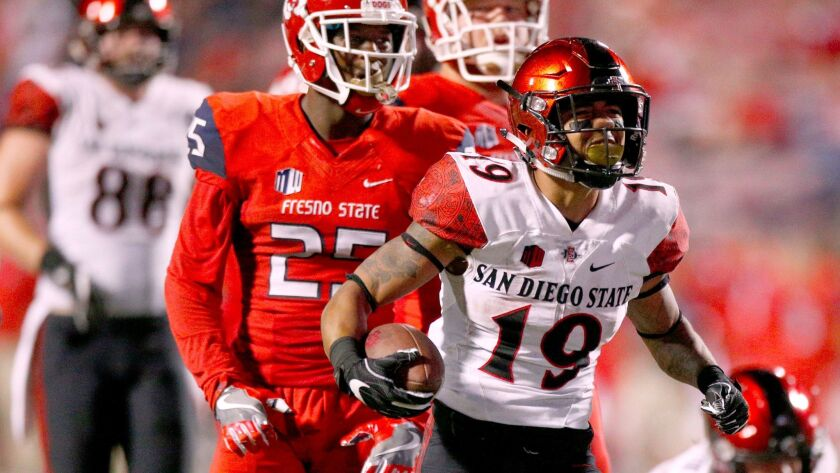 San Diego State running back D.J. Pumphrey reacts after picking up a first down against the Fresno State Bulldogs in the second quarter at Bulldog Stadium. Pumphrey rushed for 220 yards and two touchdowns on 38 carries. He now has 1,111 yards on the season.