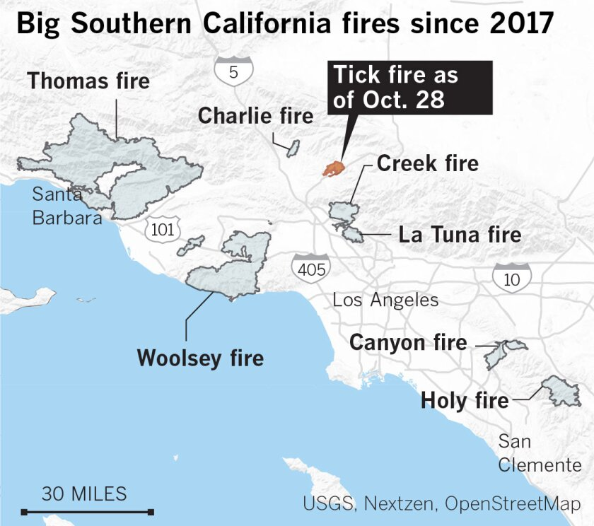 Big Southern California fires since 2017