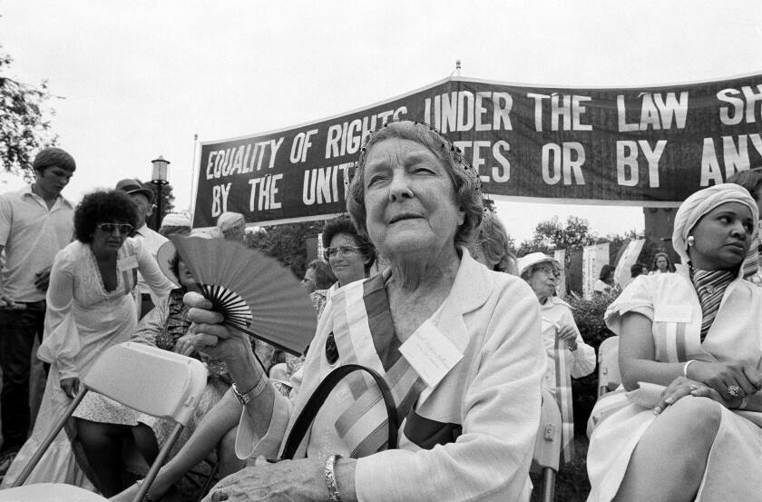 Hazel Hunkins Hallinan, one of the original suffragists, marks Women's Equality Day in Washington in 1977.