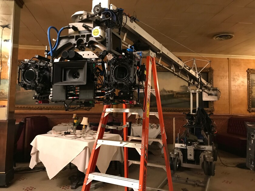 """The camera rig, dubbed """"the three-headed monster"""" used on """"The Irishman."""""""