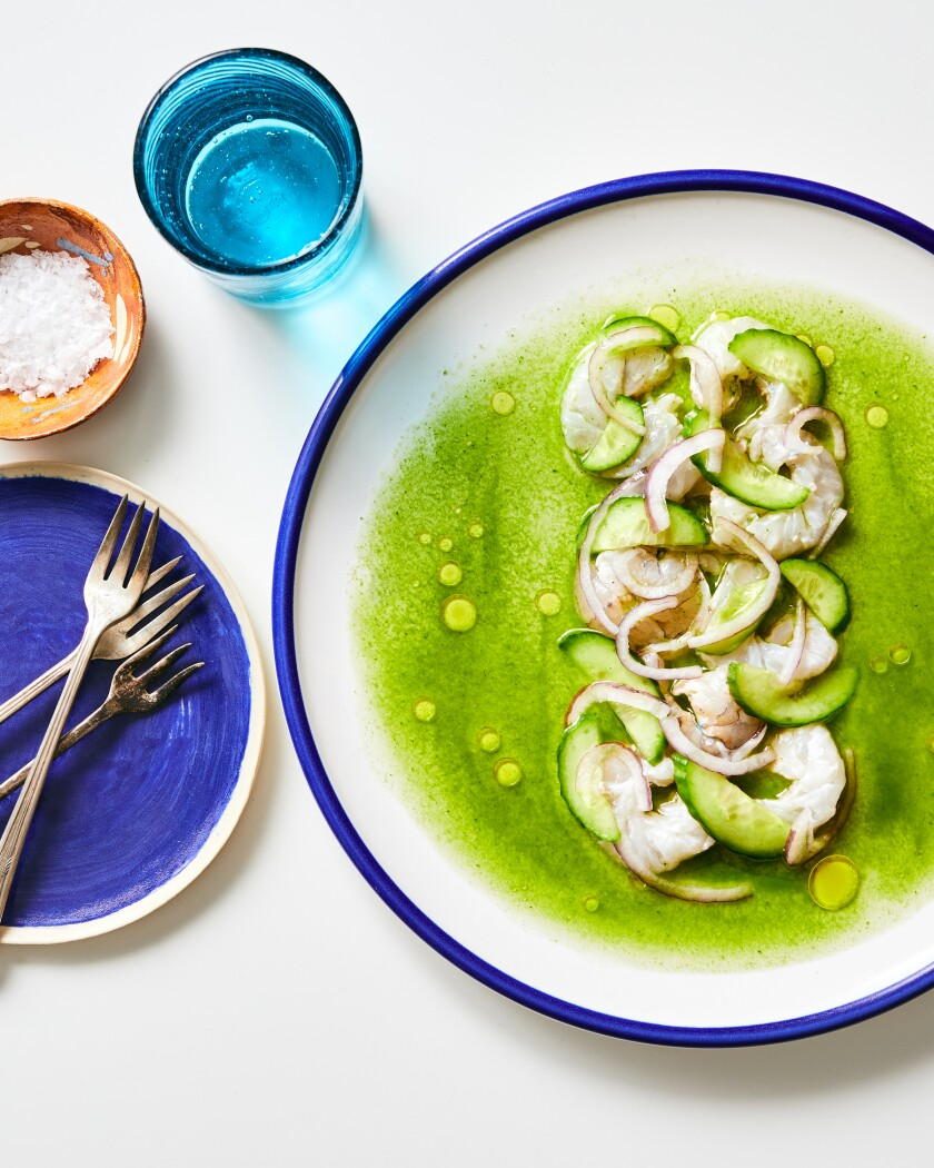 Shrimp aguachile with cucumbers and pickled onions