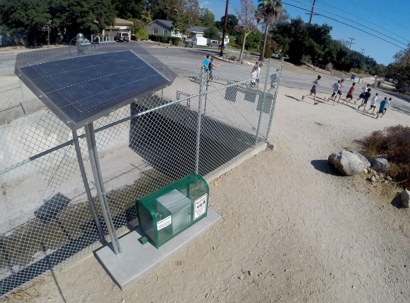 solar-powered monitoring station at Crescenta Valley Park