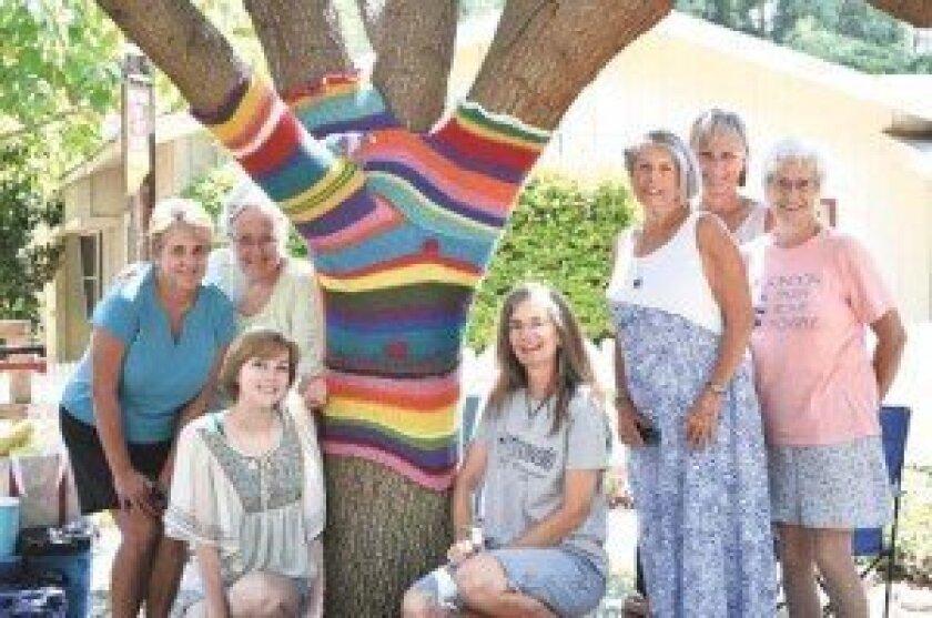 The yarn bombers, from left, Renee Edwards, Mary Whitehead, Tessa Strout (front), Kristin Osborn, Sara Stolz, Nancy Paris and Mary Anne Payton. Photo by Emily Sorensen