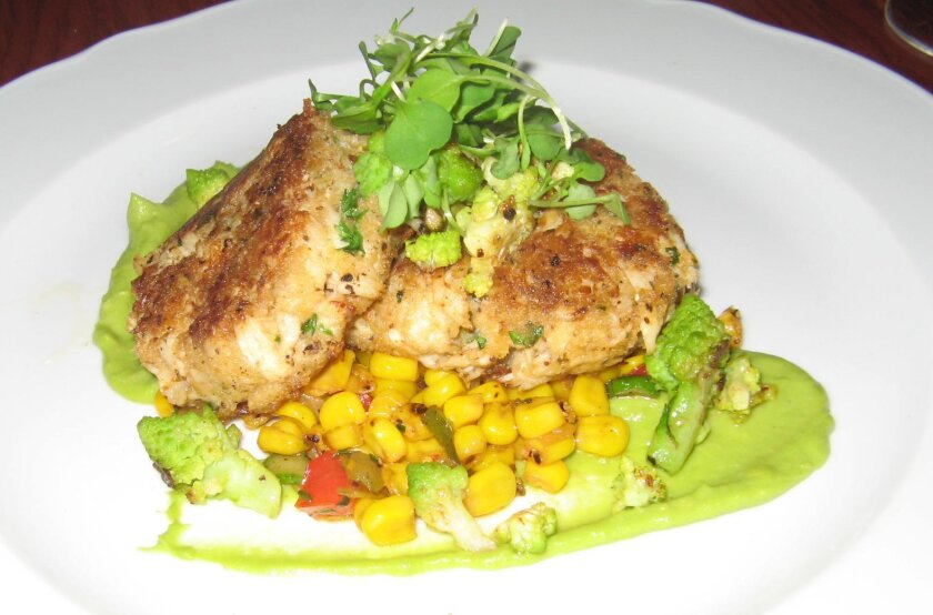 Seared East Coast crab cakes at Green Dragon Tavern & Museum in Carlsbad. CREDIT: Pam Kragen