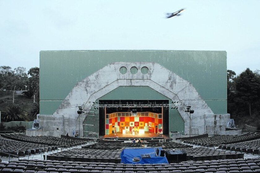 """Location, location, location: Even the planes get in the act, just like during the real stagings to come this summer, as the cast rehearses for the opening of """"Suds: The Rocking '60s Musical"""" at the Starlight Musical Theatre in Balboa Park."""
