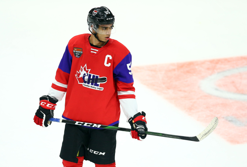 Quinton Byfield takes part in the CHL All-Star game.