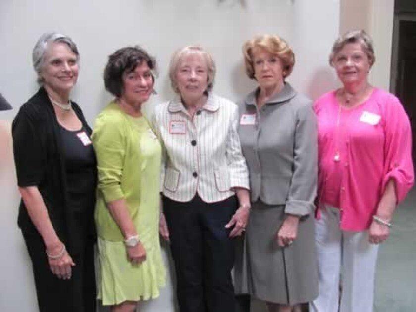 The club's new officers — Linda Ryan (vice-president), Natalie Crain (vice- president), Nancy Koch (president), Brigette Blood (treasurer) and Barbara Hand (recording secretary). Not pictured: Jan Morris (corresponding secretary).