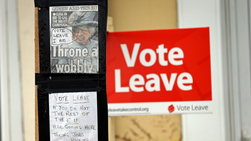 A Leave poster in the northeast English city of Redcar.