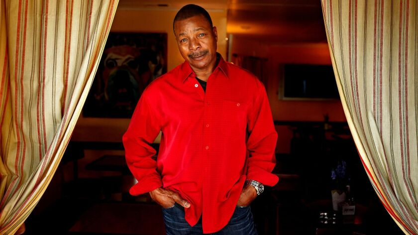 VENICE, CA - OCTOBER 8, 2014 -- Actor Carl Weathers takes center stage at the French Market Cafe in