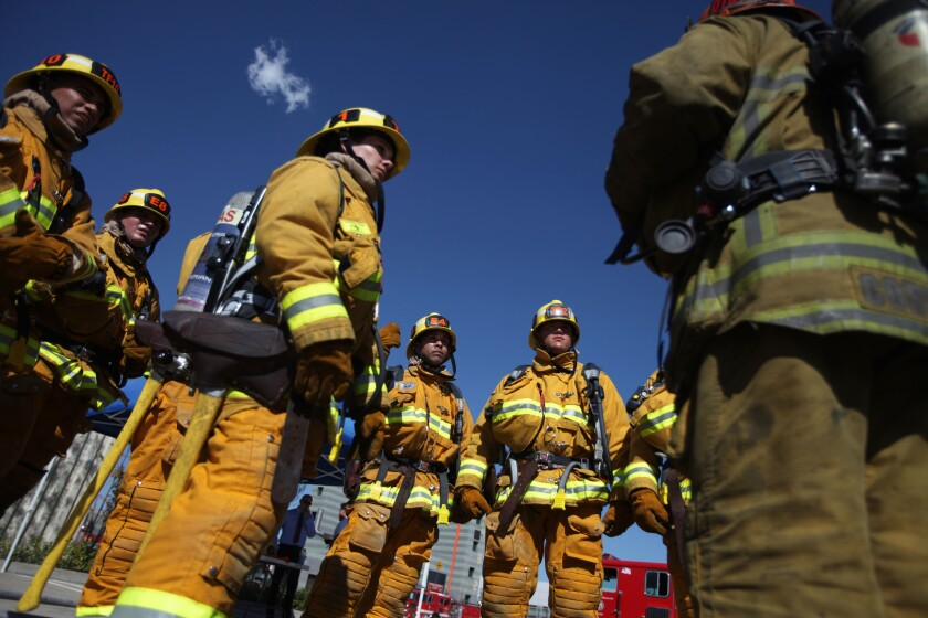 Recruits at the LAFD's Panorama City drill tower in January.