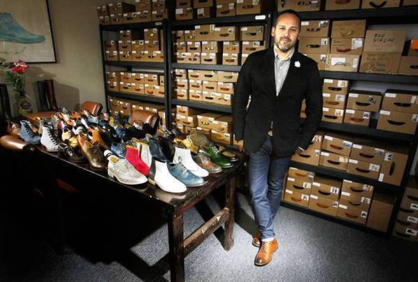 George Esquivel, founder and owner of Esquivel, his custom shoe design and manufacturing company in Buena Park.