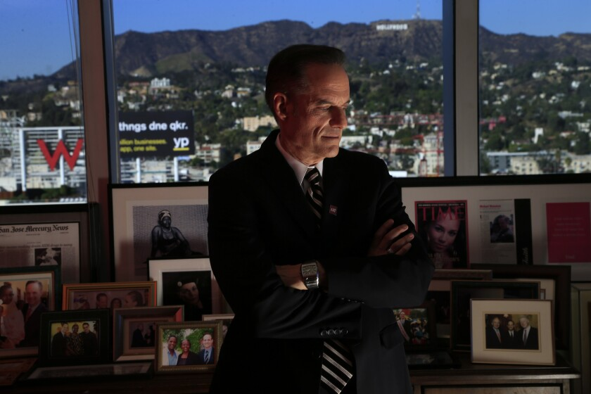 Michael Weinstein, the controversial leader of the AIDS Healthcare Foundation, is seen here in his 21st floor office in Hollywood on Nov. 14, 2013.