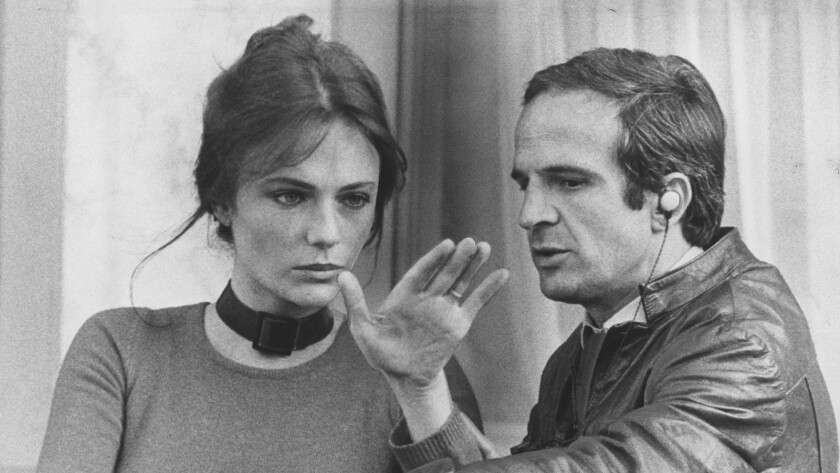 "Jacqueline Bisset and François Truffaut in the 1974 film ""Day for Night."""