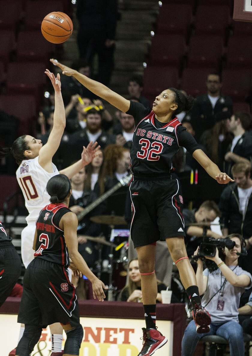 North Carolina State forward Akela Maize blocks the shot of Florida State guard Leticia Romero as North Carolina State's Len'nique Brown-Hoskin, center, looks on in the first half of an NCAA college basketball game in Tallahassee, Fla., Thursday, Feb. 26, 2015. (AP Photo/Mark Wallheiser)