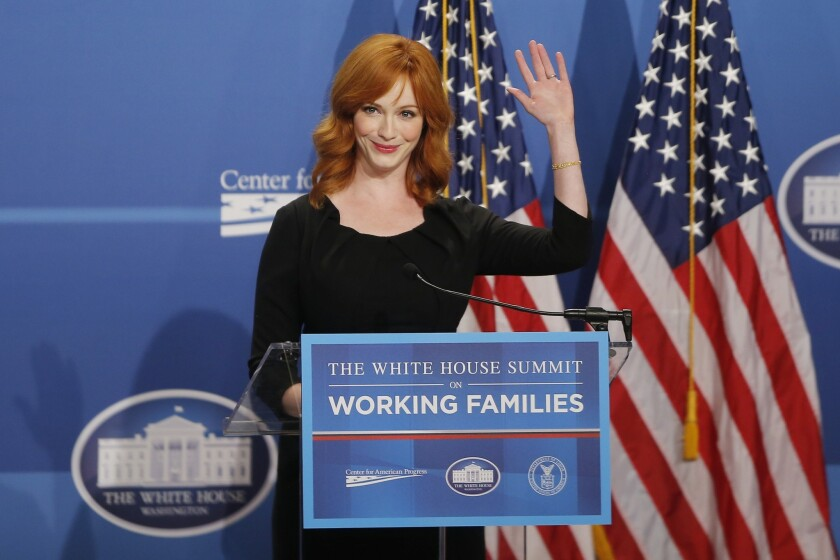 "Christina Hendricks, known for her role in the television series ""Mad Men,"" speaks at the White House Summit on Working Families at a hotel in Washington, D.C., on June 23, 2014."