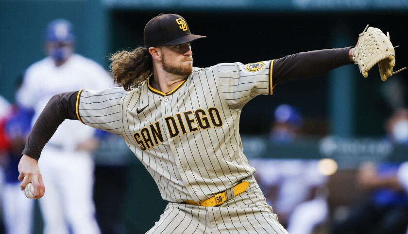 Padres pitcher Chris Paddack throws during the first inning of a game against the Rangers on April 10.