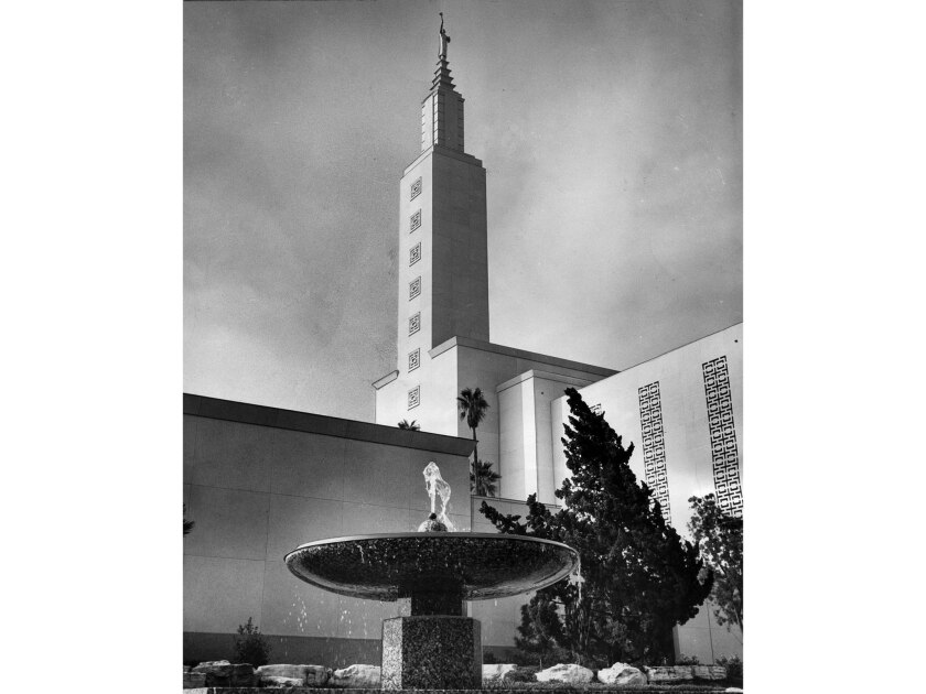 Nov. 28, 1955: New Mormon Temple on Santa Monica Blvd. in West Los Angeles. This photo was published