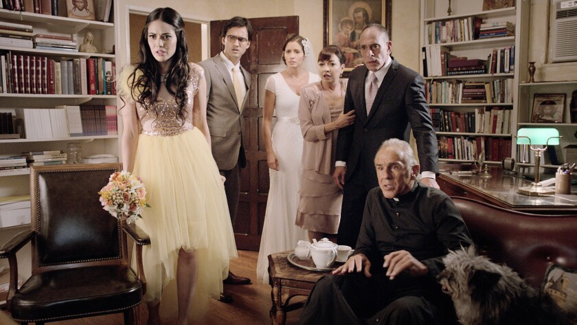"Edy Ganem, Michael Steger, Mercedes Masohn, Elizabeth Pe-a, Nestor Serrano and Pepe Serna in the movie ""Ana Maria in Novela Land."""
