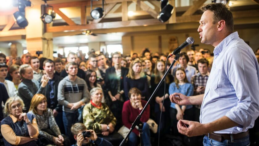 Russian opposition leader Alexei Navalny speaks to people in the city of Perm, about 720 miles east