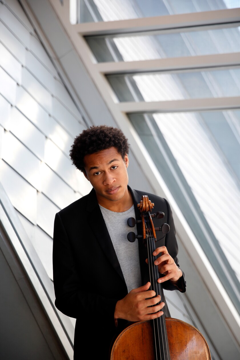 Twenty-year-old cello star Sheku Kanneh-Mason photographed at the Colburn School in Los Angeles.