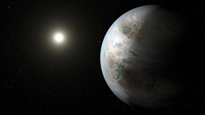 This artist's concept depicts one possible appearance of the planet Kepler-452b, the first near-Earth-size world to be found in the habitable zone of star that is similar to our sun.