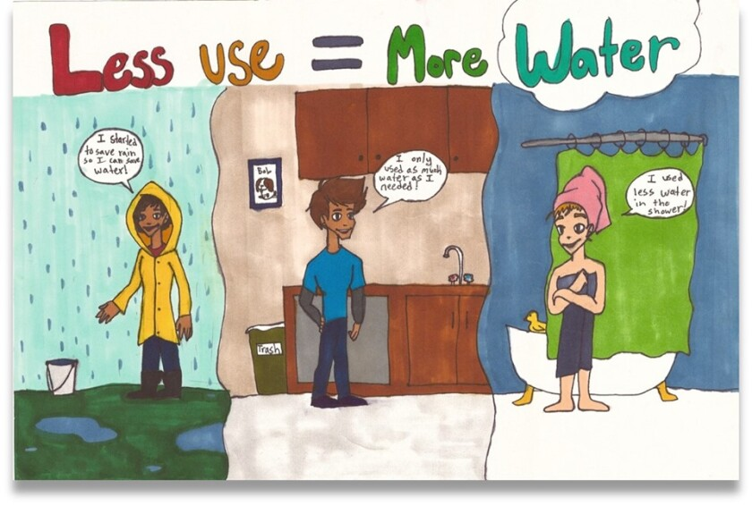 """Zoe Miles, a sixth-grader at Flying Hills Elementary School in El Cajon, took first place in the Helix Water District's """"Water is Life"""" regional poster contest, overseen by the Metropolitan Water District of Southern California."""