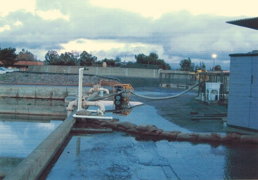 During severe rain in 2005, the Ramona Municipal Water District used sand bags to prevent effluent wastewater from flowing out of the downtown treatment plant site.