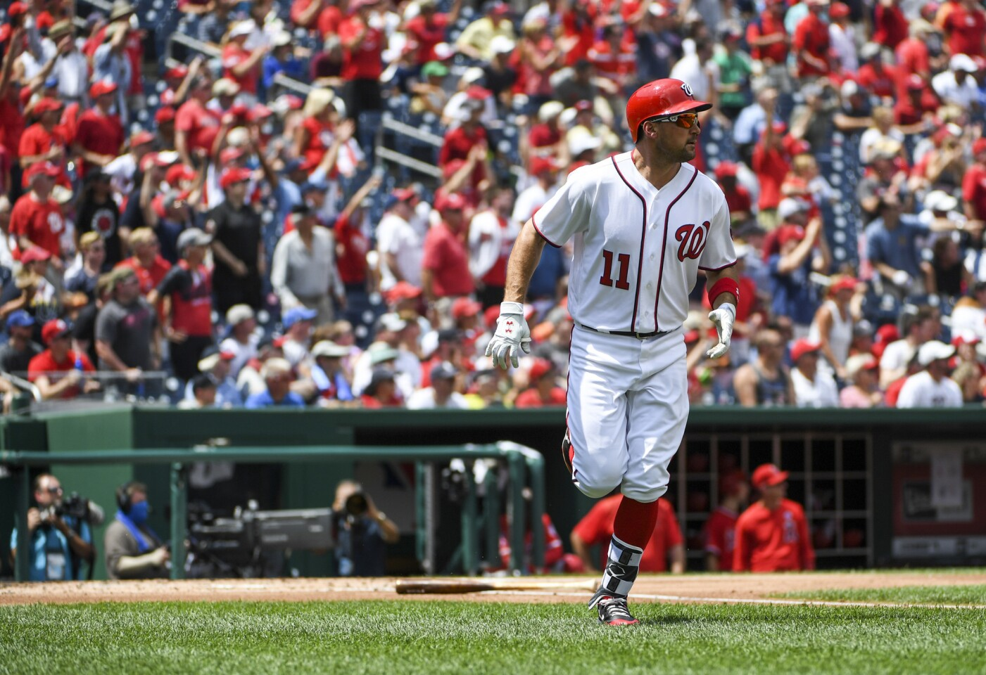 Washington Nationals first baseman Ryan Zimmerman cranks a two-run homer in the first inning against the Los Angeles Angels in Washington on Wednesday, Aug. 16, 2017. MUST CREDIT: Washington Post photo by Jonathan Newton. ** Usable by BS, CT, DP, FL, HC, MC, OS, SD, CGT and CCT **