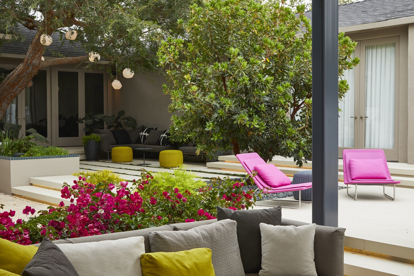 The plant palette is composed of varied textures and shades of green, accented by richly colored bark. Bougainvillea and chairs, both magenta, provide a color pop in the back yard. (Furniture selected by Laurie Raskin of Laurie Raskin Design)