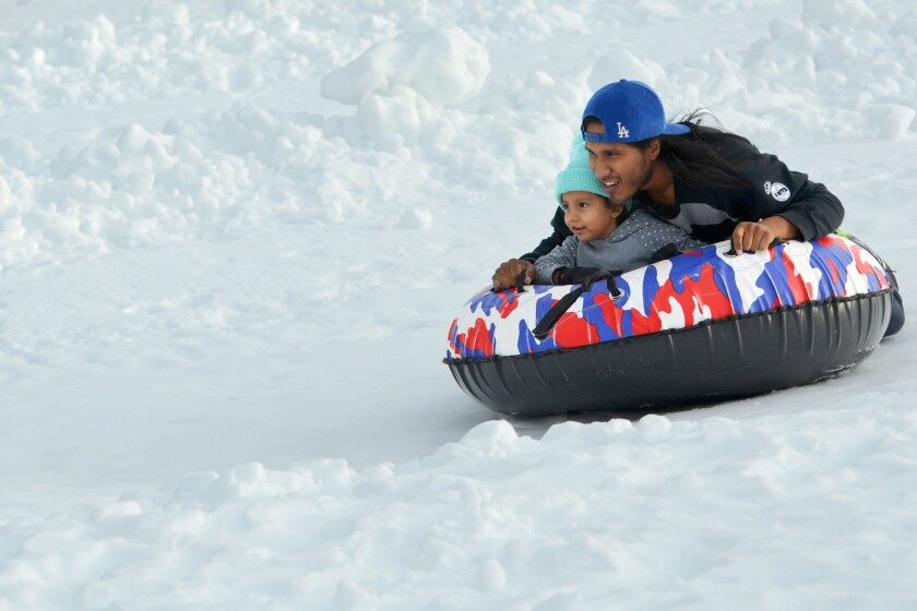 You can hop in a tube and slide down the slopes at Big Bear Snow Play in Big Bear Lake, Calif.