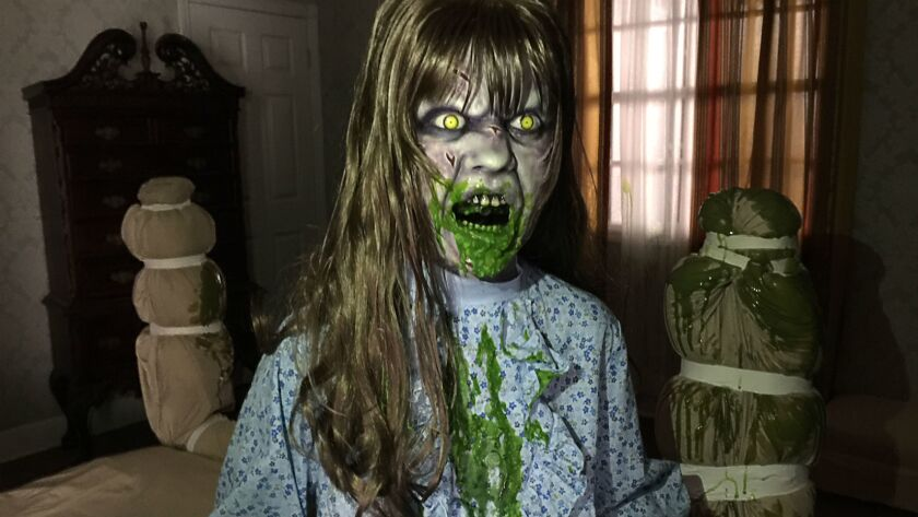 A scene from inside The Exorcist haunted maze coming to Halloween Horror Nights at Universal Studios Hollywood.