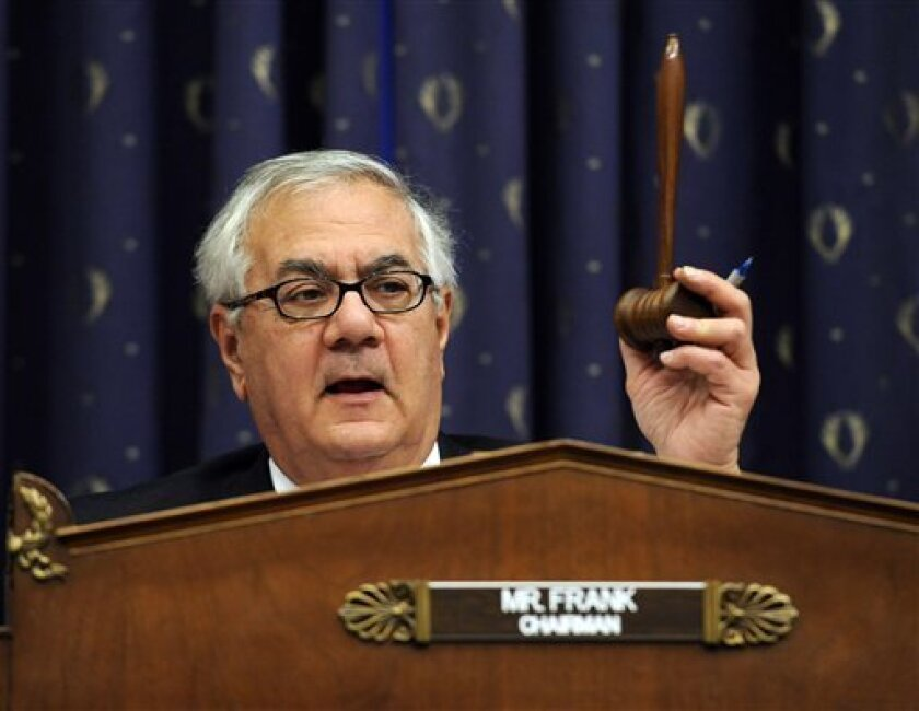House Financial Services Committee Chairman Rep. Barney Frank, D-Mass., speaks during a hearing on the bailout of American automakers, Friday, Dec. 5, 2008, on Capitol Hill in Washington. (AP Photo/Susan Walsh)