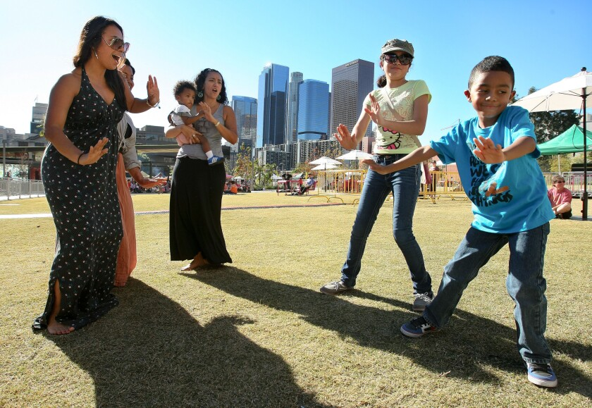 """Dancers show off their moves at """"Grand Park's Summer Sessions"""" in downtown L.A."""
